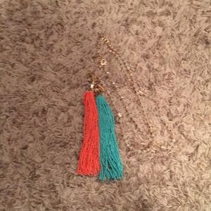 Gold statement necklace with two tassels